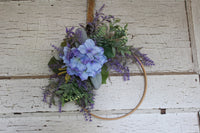 Blue hydrangea and Lavender Hoop Wreath