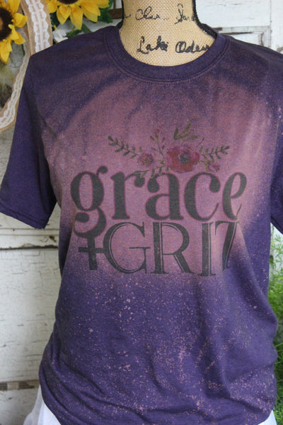 grace + grit purple bleached short sleeve graphic tee shirt