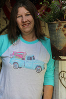 The Junkin' Life turquoise raglan T Shirt, with turquoise vintage truck, flea market style