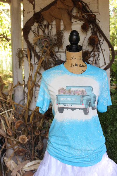 Happy Fall Y'all Truck with leopard and serape pumpkins on a bleached turquoise t shirt