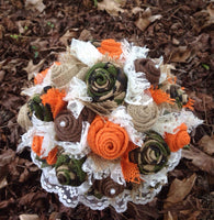 Camo and Orange Burlap and Lace Bridal Bouquet, Fabric Bouquet Rustic, Camouflage Wedding Bouquet