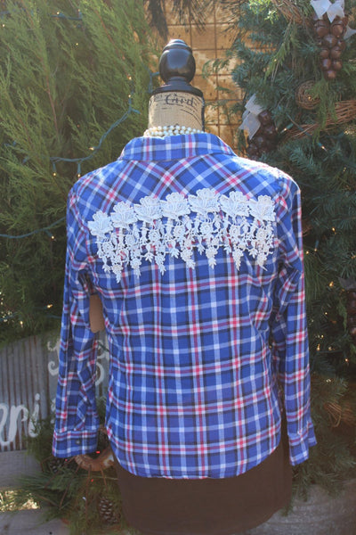 Small Flannel Shirt with Rose Lace Fringe blue and pink plaid shirt, vintage lace, size small FF92-GypsyFarmGirl-Rust and Romance