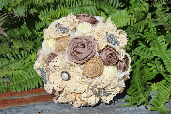 Rustic Glam Bridal Brooch Bouquet with Satin Roses - Rhinestones, Pearls - Burlap and Lace Flowers-GypsyFarmGirl-Rust and Romance