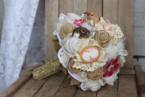 Rustic Glam Bridal Brooch Bouquet with pink and gold brooches and jewels - burlap and lace-GypsyFarmGirl-Rust and Romance
