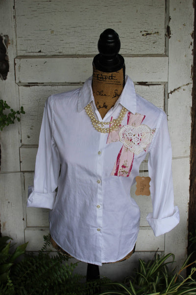 Small White shirt with pink floral cross and doily heart, SF1-GypsyFarmGirl-Rust and Romance
