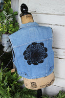 Denim and Lace Vest, size medium denim vest black lace SF12-GypsyFarmGirl-Rust and Romance