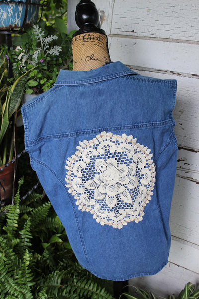 LG Denim and Lace Shirt size large denim sleeveless shirt with vintage doily sf13-GypsyFarmGirl-Rust and Romance