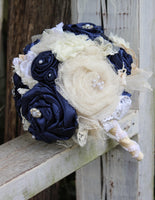 Navy Satin Fabric Bouquet, Navy and Ivory Bridal Bouquet with fabric flowers, lace, satin, tulle, pearls,