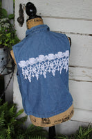 Denim and Lace Vest, size small denim vest with vintage lace, rose lace, ladies sf11-GypsyFarmGirl-Rust and Romance