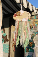 Dream Catcher, Pink and mint green lace dream catcher with flowers, eJ51-GypsyFarmGirl-Rust and Romance