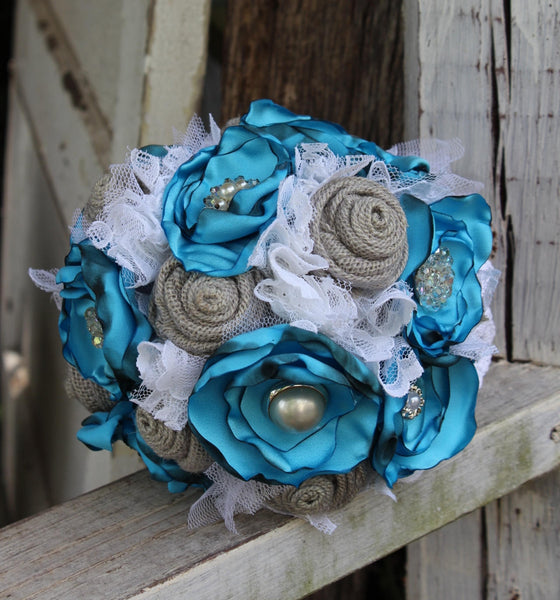 Turquoise, Gray, and White Fabric Bridal Bouquet, Rustic, Vintage, Satin, Burlap and Lace-GypsyFarmGirl-Rust and Romance