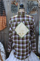 Green and Brown Flannel Shirt with Vintage Embroidery Flannel Shirt, Size Medium, FF203-GypsyFarmGirl-Rust and Romance