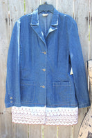 Denim blazer with lace, Ladies size Medium, denim jacket-GypsyFarmGirl-Rust and Romance