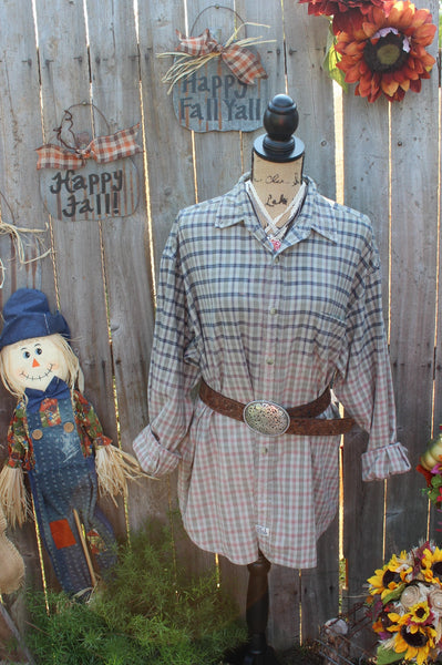 Grey, Blue, Pink Distressed Shirt, Size Large, FF231-GypsyFarmGirl-Rust and Romance