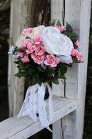 Pink and white silk wedding bouquet, toss bouquet-GypsyFarmGirl-Rust and Romance