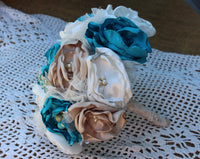 Turquoise, Tan, and White Satin Fabric Bouquet, Brooch bouquet, Vintage, Satin, Bridal Bouquet-GypsyFarmGirl-Rust and Romance