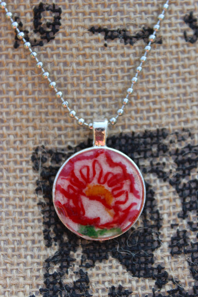 Red Embroidery Flower Necklace, jewelry, gift, vintage, necklace, Bezel Necklace, Vintage embroidery