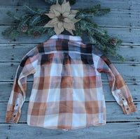 Size Lg 10-12 Youth Distressed Buffalo Check Flannel Shirt, Child's, Bleached Flannels, Buffalo Check Flannel, Gypsy, Grunge Flannels FF271-GypsyFarmGirl-Rust and Romance