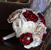 Vintage Glam Fabric Wedding Bouquet, Burgundy, White, Cream, and Flax Satin and Lace-GypsyFarmGirl-Rust and Romance
