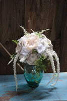 Rustic Chic Bridal Bouquet, Centerpiece with burlap and lace flowers, satin flowers, pearls-GypsyFarmGirl-Rust and Romance