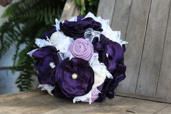 Purple, lavender, and white satin, burlap and lace bridal bouquet, fabric bride's bouquet-GypsyFarmGirl-Rust and Romance