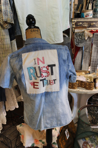 In Rust We Trust! Distressed Denim Shirt, Size 8, Small/Medium Shirt, rustic clothing, bleached, M4-GypsyFarmGirl-Rust and Romance