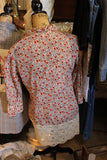 Ladies floral print shirt with vintage lace, size medium, ruffle v neck M8-GypsyFarmGirl-Rust and Romance