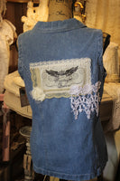 Vintage Queen Denim and Lace shirt with wings and crown, Size 8 Medium, Sleeveless Denim Shirt M9-GypsyFarmGirl-Rust and Romance