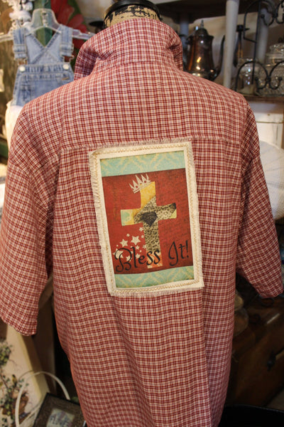 Bless It Red Plaid Shirt, Size large button up shirt JE4-GypsyFarmGirl-Rust and Romance