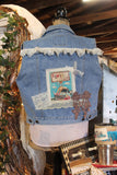 I love rust! Denim and lace, large vest with vintage cowgirl, truck, size Large RUNS SMALL L4-GypsyFarmGirl-Rust and Romance