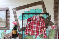 Size Small 6 -7 Reversible Distressed Flannel Shirt, Child's Bleached Flannels, Long Sleeve, Pink Plaid Flannel, Bleached, Flannel JE45-Rust and Romance-Rust and Romance