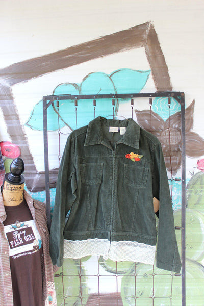 Green Corduroy and lace jacket with fall leaves brooch pin, Size Medium Ladies Jacket, JE53-GypsyFarmGirl-Rust and Romance