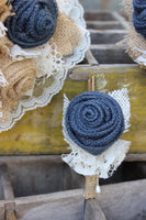 Navy Burlap Boutonnieres for Groom, Groomsmen, Bout, Rustic Wedding Flowers