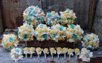 Butter yellow, aqua, and gray burlap wedding bouquets and boutonnieres