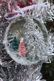 Vintage Christmas Ornament made with tart pan, chandelier crystals, and bottle brush trees, Pink, Christmas Tree, Je58
