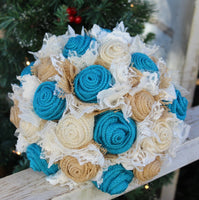 Dark Turquoise and Cream Burlap and Lace Bridal Bouquets and Boutonnieres