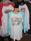 Vintage Soul Raglan Baseball Tee Shirt with turquoise sleeves and truck