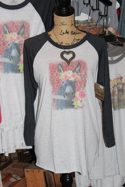 Sweet Donkey T shirt with flower crown and leopard print