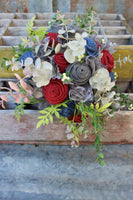 Moody dark Navy, maroon, and grey burlap and lace bridal bouquet with greenery-GypsyFarmGirl-Rust and Romance