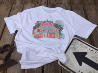 Flea Market Queen T Shirt, shirt with crown, lamp, flowers, and milk can, flea market sign-GypsyFarmGirl-Rust and Romance
