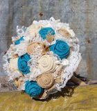 Dark Turquoise and Oyster/Cream Burlap and Lace Bridal Bouquets and Boutonnieres