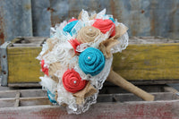 Turquoise and Coral Burlap and Lace Bridal Bouquets and Boutonnieres