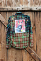 Small Sweet Donkey Distressed Flannel Shirt , Flannel shirt with Donkey JE166-GypsyFarmGirl-Rust and Romance