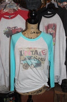 Vintage Soul graphic tee shirt with turquoise truck