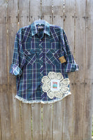 Large Pearl Snap Shirt with vintage truck, lace, and doily, JE187-GypsyFarmGirl-Rust and Romance