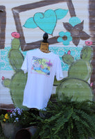 Happy Camper t shirt with vintage turquoise truck, glamper, flowers, crown, and chandelier-GypsyFarmGirl-Rust and Romance