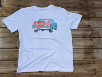 Vintage Flower Truck Shirt, white graphic t shirt with turquoise truck with pink flowers-GypsyFarmGirl-Rust and Romance