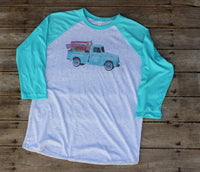 flea market finds graphic tee shirt with the Junkin' Life vintage turquoise truck