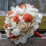 Rustic Burnt Orange Burlap and Lace Bridal Bouquets, Bridesmaid, and Boutonnieres,