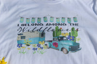 I belong among the wildflowers t shirt with vintage truck, camper, flowers, cactus in multiple sizes-GypsyFarmGirl-Rust and Romance